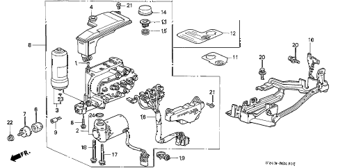 1996 accord LX(ABS) 4 DOOR 5MT ABS MODULATOR diagram