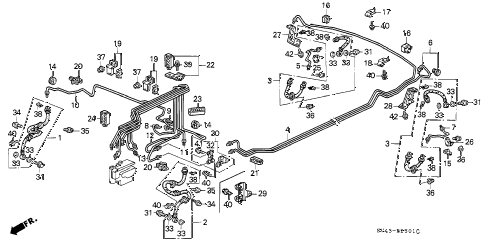 1994 accord EX(LEATHER) 4 DOOR 5MT BRAKE LINES (2) diagram