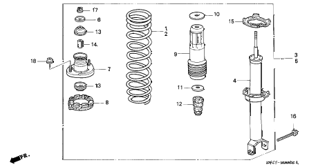 1995 accord DX(ABS) 4 DOOR 4AT REAR SHOCK ABSORBER diagram