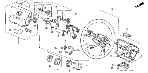 1995 accord EX 4 DOOR 5MT STEERING WHEEL diagram