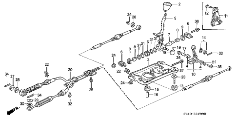 1995 accord DX 4 DOOR 5MT SHIFT LEVER diagram