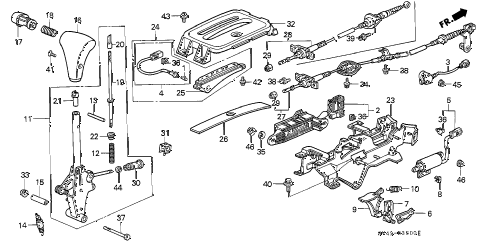 1995 accord DX(ABS) 4 DOOR 4AT SELECT LEVER diagram