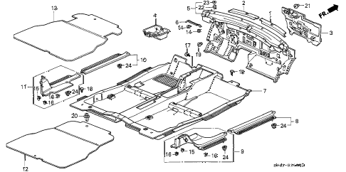 1994 accord LX 4 DOOR 5MT FLOOR MAT diagram