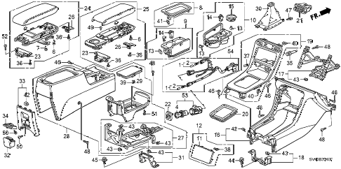 1994 accord DX(ABS) 4 DOOR 5MT CONSOLE diagram