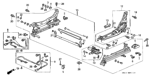 1994 accord EX(LEATHER) 4 DOOR 5MT FRONT SEAT COMPONENTS (L.) (POWER HEIGHT) diagram