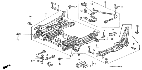 1997 accord EX(LEATHER) 4 DOOR 4AT FRONT SEAT COMPONENTS (L.) (4WAY POWER SEAT) diagram