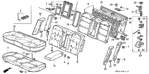 1996 accord EX(LEATHER) 4 DOOR 5MT REAR SEAT (2) diagram