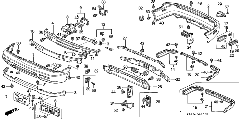 1997 accord DX 4 DOOR 5MT BUMPER diagram