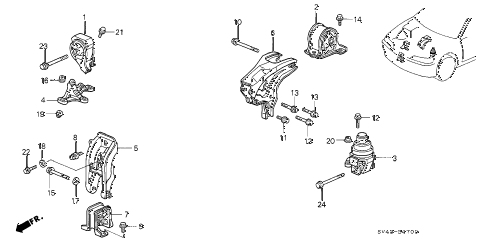 1996 accord LX(ABS) 4 DOOR 5MT ENGINE MOUNT (1) diagram