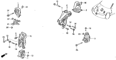 1994 accord EX(LEATHER) 4 DOOR 5MT ENGINE MOUNTS (MT) (VTEC) diagram