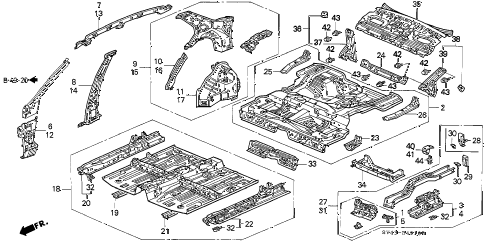 1994 accord LX 4 DOOR 5MT INNER PANEL diagram