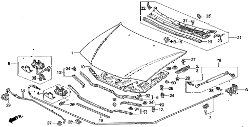 1994 accord DX 4 DOOR 4AT ENGINE HOOD diagram