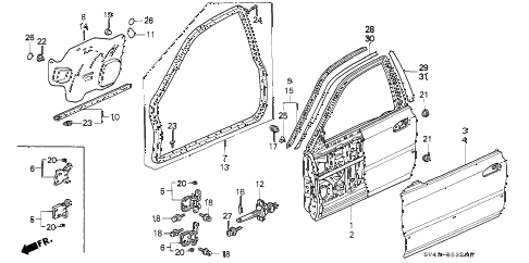 1996 accord EX 4 DOOR 5MT FRONT DOOR PANELS diagram