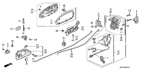 1996 accord EX(LEATHER) 4 DOOR 5MT REAR DOOR LOCKS diagram