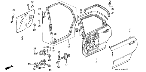 1997 accord EX 4 DOOR 5MT REAR DOOR PANELS diagram