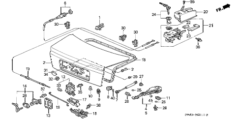 1994 accord DX(ABS) 4 DOOR 5MT TRUNK LID (1) diagram
