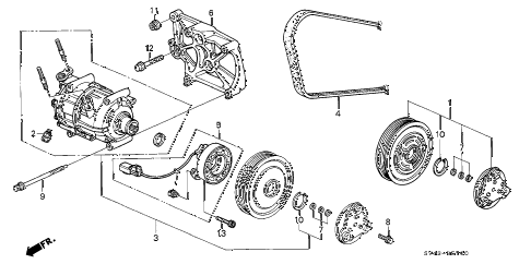1994 accord EX 4 DOOR 4AT A/C COMPRESSOR (1) diagram