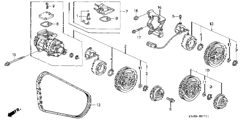 1996 accord DX(SPECIAL VALUE) 4 DOOR 4AT A/C COMPRESSOR (DENSO) (2) diagram