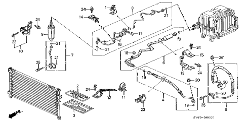 1996 accord DX(SPECIAL VALUE) 4 DOOR 4AT A/C HOSES - PIPES diagram