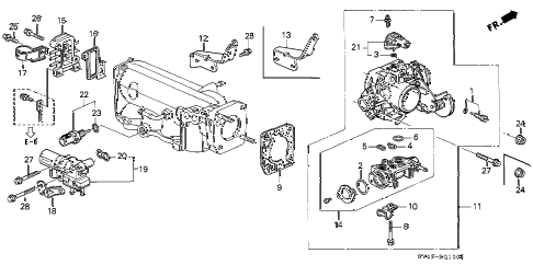 1997 accord EX(LEATHER) 4 DOOR 4AT THROTTLE BODY diagram