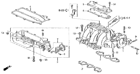 1995 accord V6 EX(LEATHER/V-6) 4 DOOR 4AT INTAKE MANIFOLD (V6) diagram