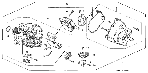 1996 accord EX 4 DOOR 4AT DISTRIBUTOR (HITACHI) diagram