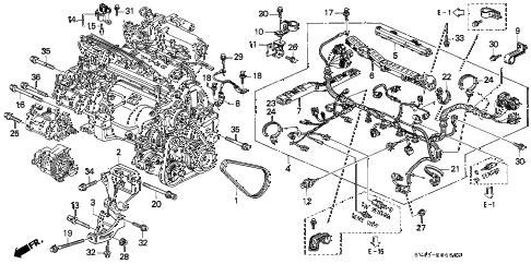 1995 accord LX(ABS) 4 DOOR 4AT ENGINE WIRE HARNESS - CLAMP diagram