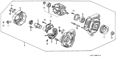 1996 accord EX 4 DOOR 5MT ALTERNATOR (DENSO) diagram