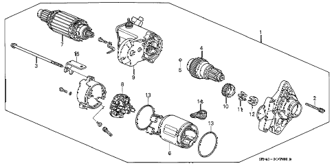 1994 accord LX 4 DOOR 5MT STARTER MOTOR (DENSO) diagram