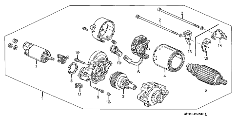 1997 accord LX 4 DOOR 4AT STARTER MOTOR (MITSUBA) diagram