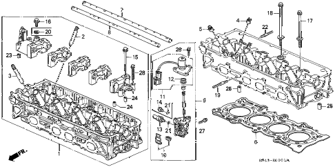 1994 accord EX 4 DOOR 5MT CYLINDER HEAD (2) diagram