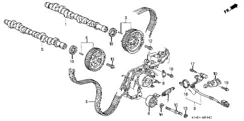 1997 accord V6 LX(ABS/V-6) 4 DOOR 4AT CAMSHAFT - TIMING BELT (V6) diagram