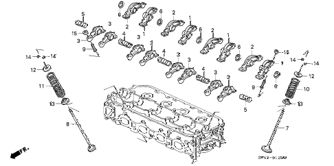 1994 accord LX(ABS) 4 DOOR 4AT VALVE - ROCKER ARM (1) diagram