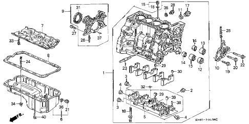 1995 accord DX(ABS) 4 DOOR 4AT CYLINDER BLOCK - OIL PAN diagram
