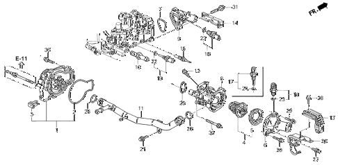 1995 accord DX(ABS) 4 DOOR 5MT WATER PUMP - SENSOR diagram