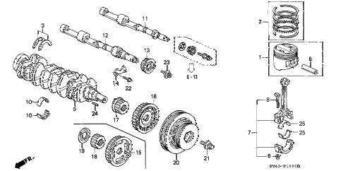 1995 accord DX(ABS) 4 DOOR 5MT CRANKSHAFT - PISTON diagram