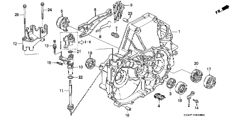 1995 accord LX(ABS) 4 DOOR 5MT MT CLUTCH HOUSING diagram