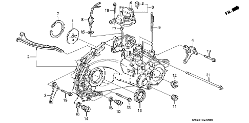 1995 accord DX 4 DOOR 5MT MT TRANSMISSION HOUSING diagram
