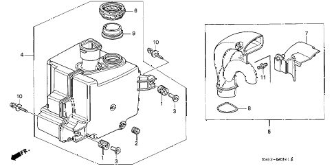 1997 accord LX 5 DOOR 4AT RESONATOR CHAMBER diagram