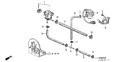 1997 accord LX 5 DOOR 4AT PURGE CONTROL SOLENOID VALVE (2) diagram