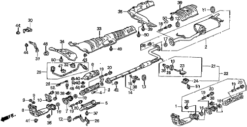 1995 accord EX 5 DOOR 4AT EXHAUST PIPE (1) diagram
