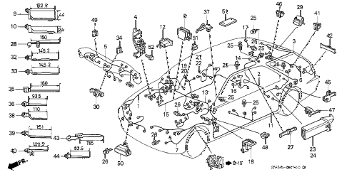 1994 accord EX 5 DOOR 4AT WIRE HARNESS diagram
