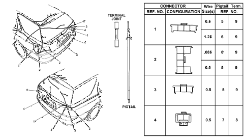 1997 accord LX 5 DOOR 4AT ELECTRICAL CONNECTORS (RR.) diagram
