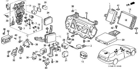 1995 accord LX 5 DOOR 5MT CONTROL UNIT (CABIN) diagram
