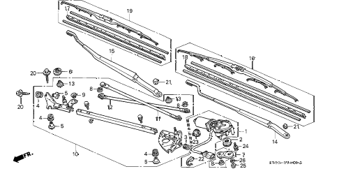 1996 accord EX 5 DOOR 4AT FRONT WINDSHIELD WIPER diagram