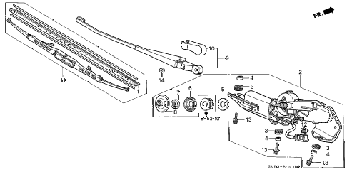 1997 accord LX 5 DOOR 5MT REAR WIPER diagram