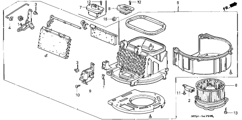 1996 accord LX 5 DOOR 5MT HEATER BLOWER diagram