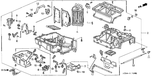 1996 accord LX 5 DOOR 5MT HEATER UNIT diagram