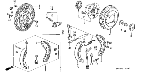 1997 accord LX 5 DOOR 4AT REAR BRAKE (DRUM) diagram