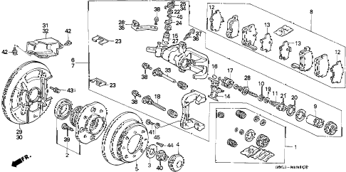 1994 accord LX(ABS) 5 DOOR 5MT REAR BRAKE (DISK) diagram